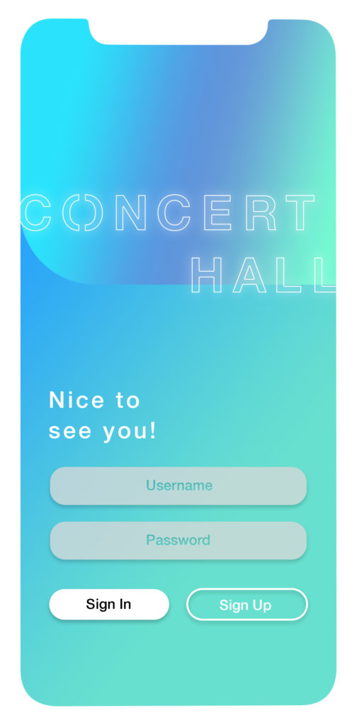 Sign In Screen Concert Hall App